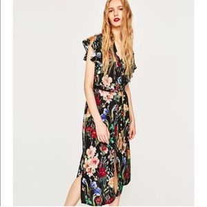Zara Basic Black Floral Button Down Dress